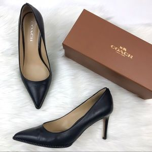 Coach Black beadchain pointed-toe pumps heels